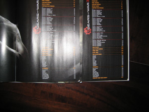 Gears of War 3 strategy guide tables of contents